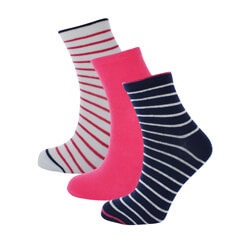 LOT DE 3 PAIRES DE SOCQUETTES FEMME SIMPLY STRIPES