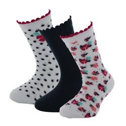 LOT DE 3 PAIRES DE CHAUSSETTES FILLE FLOWERS POWER
